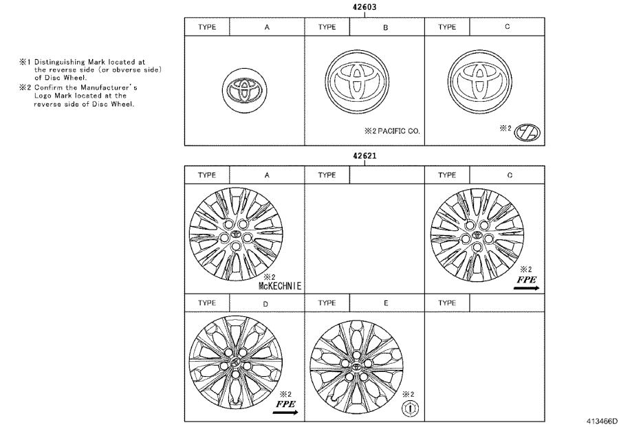 Diagram DISC WHEEL & WHEEL CAP for your 2015 Toyota Camry