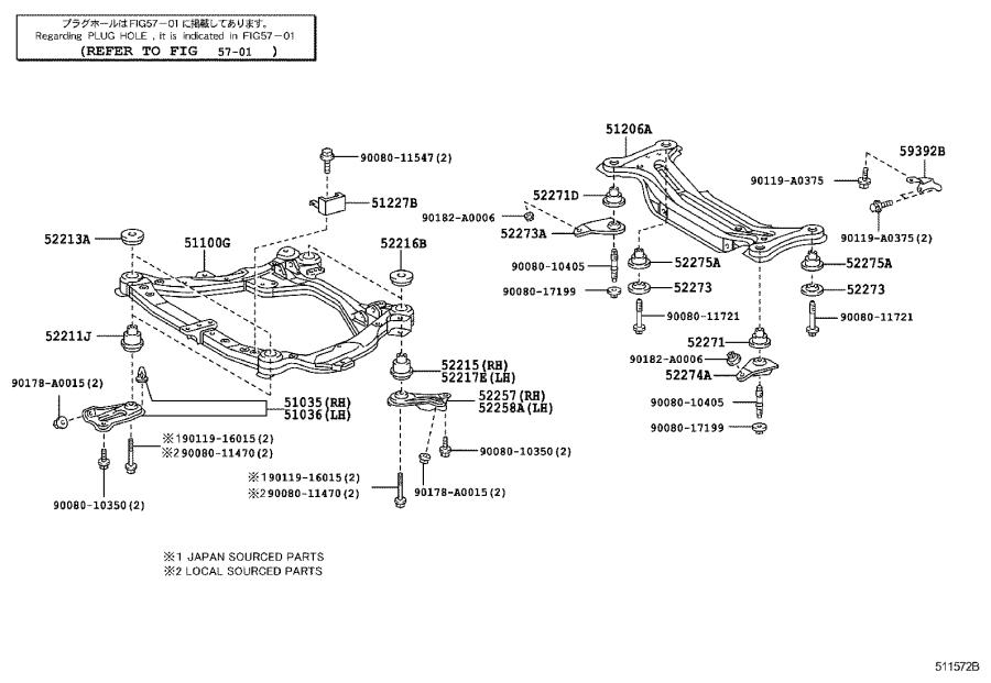 Diagram SUSPENSION CROSSMEMBER & UNDER COVER for your 2009 Toyota Camry