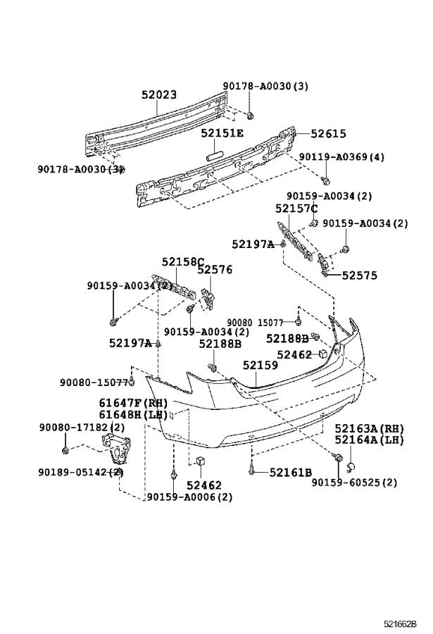 Diagram REAR BUMPER & BUMPER STAY for your 2009 Toyota Camry