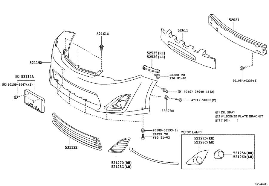 Diagram FRONT BUMPER & BUMPER STAY for your 2015 Toyota Camry