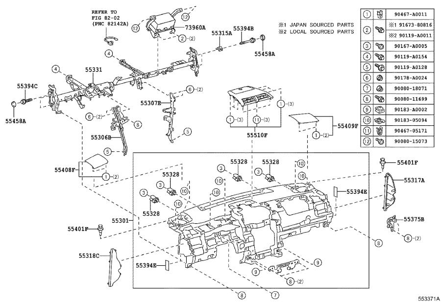 Diagram INSTRUMENT PANEL & GLOVE COMPARTMENT for your 2015 Toyota Camry