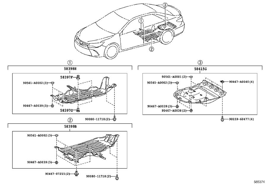 Diagram FLOOR PAN & LOWER BACK PANEL for your 2015 Toyota Camry