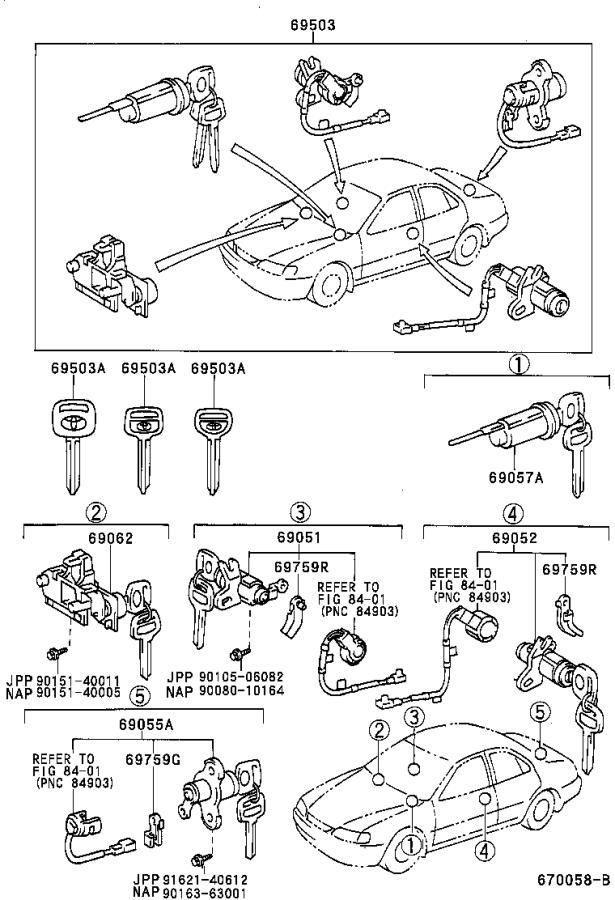 Diagram LOCK CYLINDER SET for your 1998 Toyota Camry