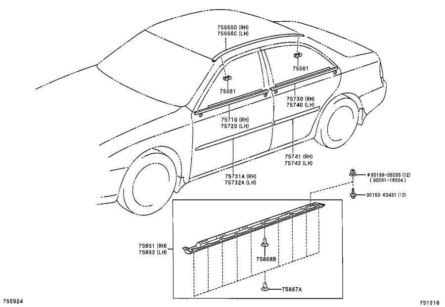 Diagram SIDE MOULDING for your 2002 Toyota Camry