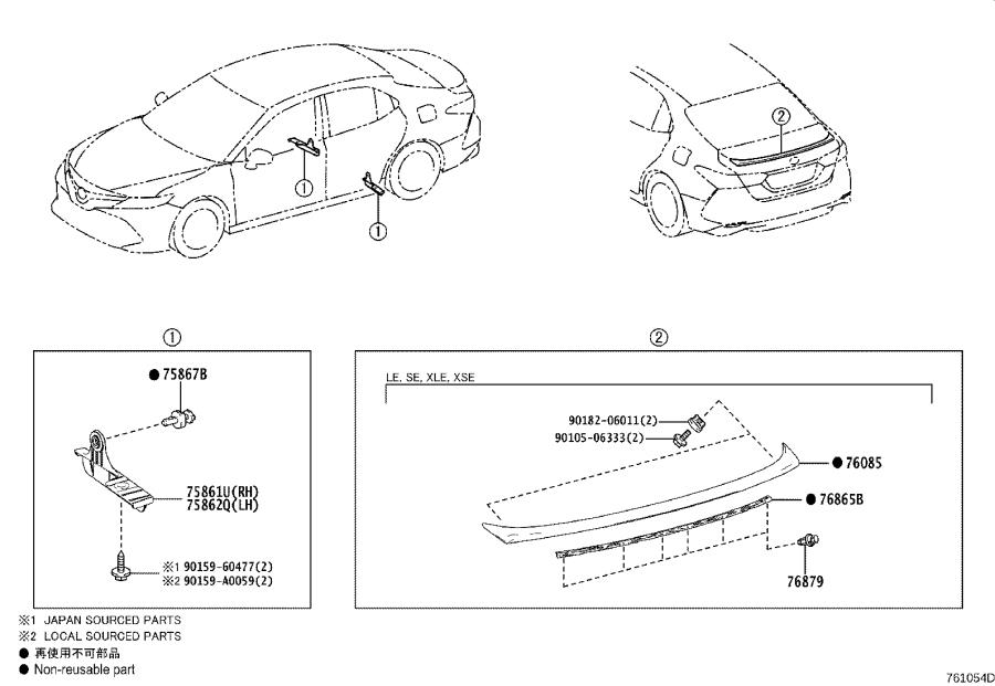 Diagram MUDGUARD & SPOILER for your 2020 Toyota Camry