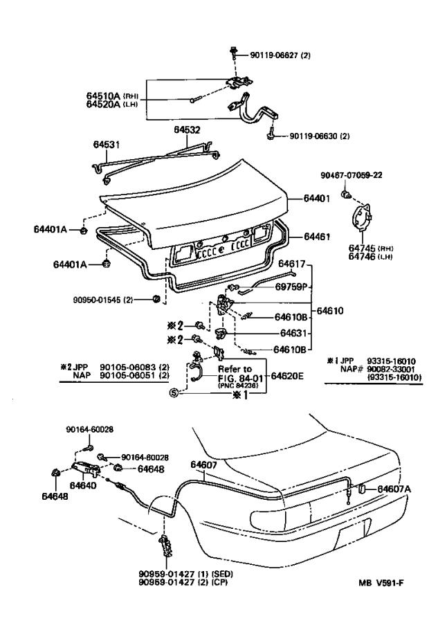 Diagram LUGGAGE COMPARTMENT DOOR & LOCK for your 1992 Toyota Camry