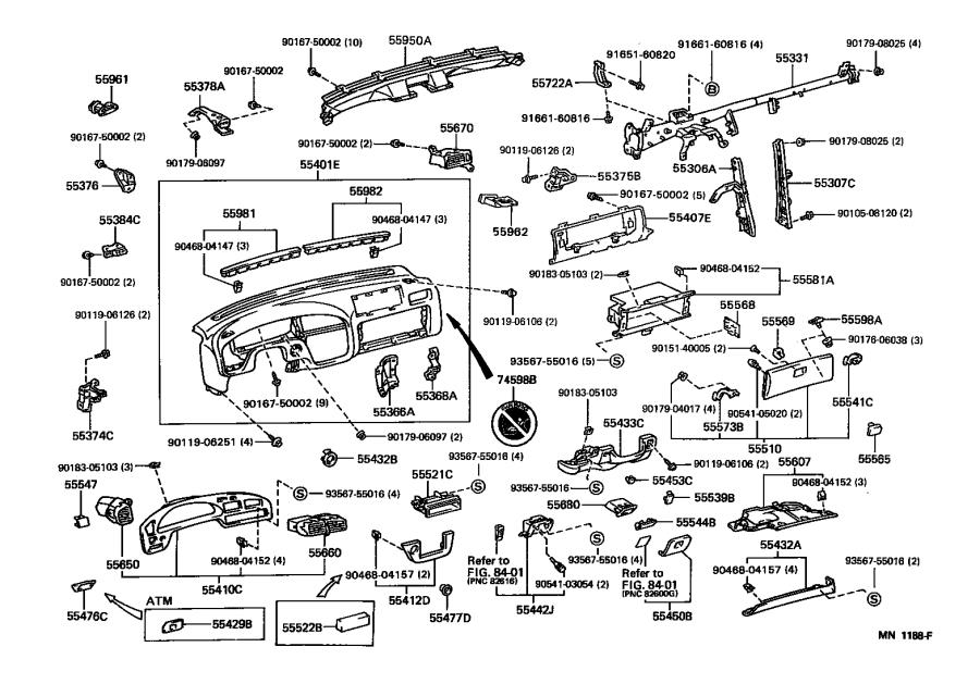 Diagram INSTRUMENT PANEL & GLOVE COMPARTMENT for your 1992 Toyota Camry